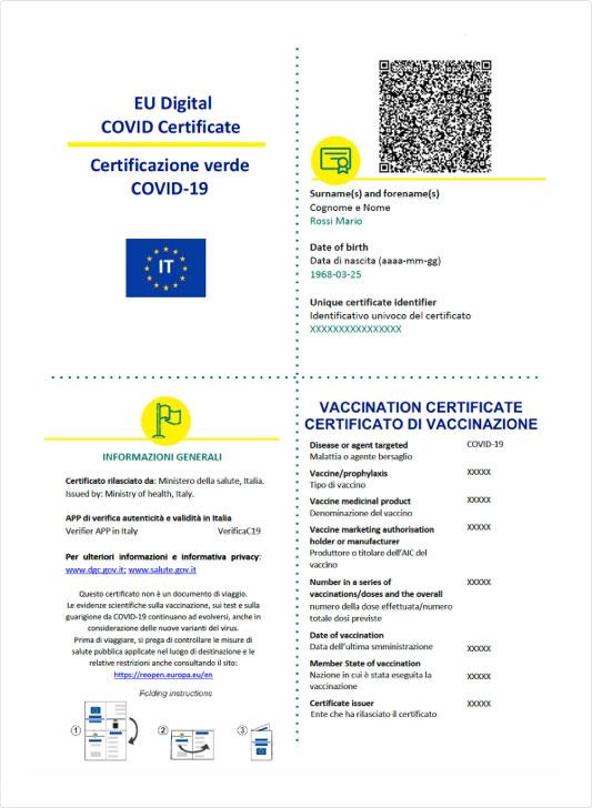 Immagine del certificato cartaceo